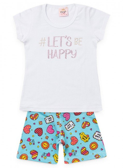 conjunto infantil feminino happy branco pop love